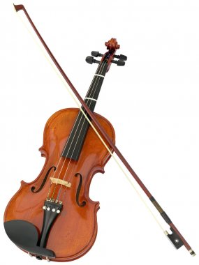 Violin and fiddlestick isolated with clipping path stock vector