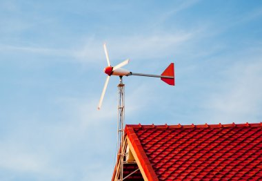 The Wind turbine on roof at home