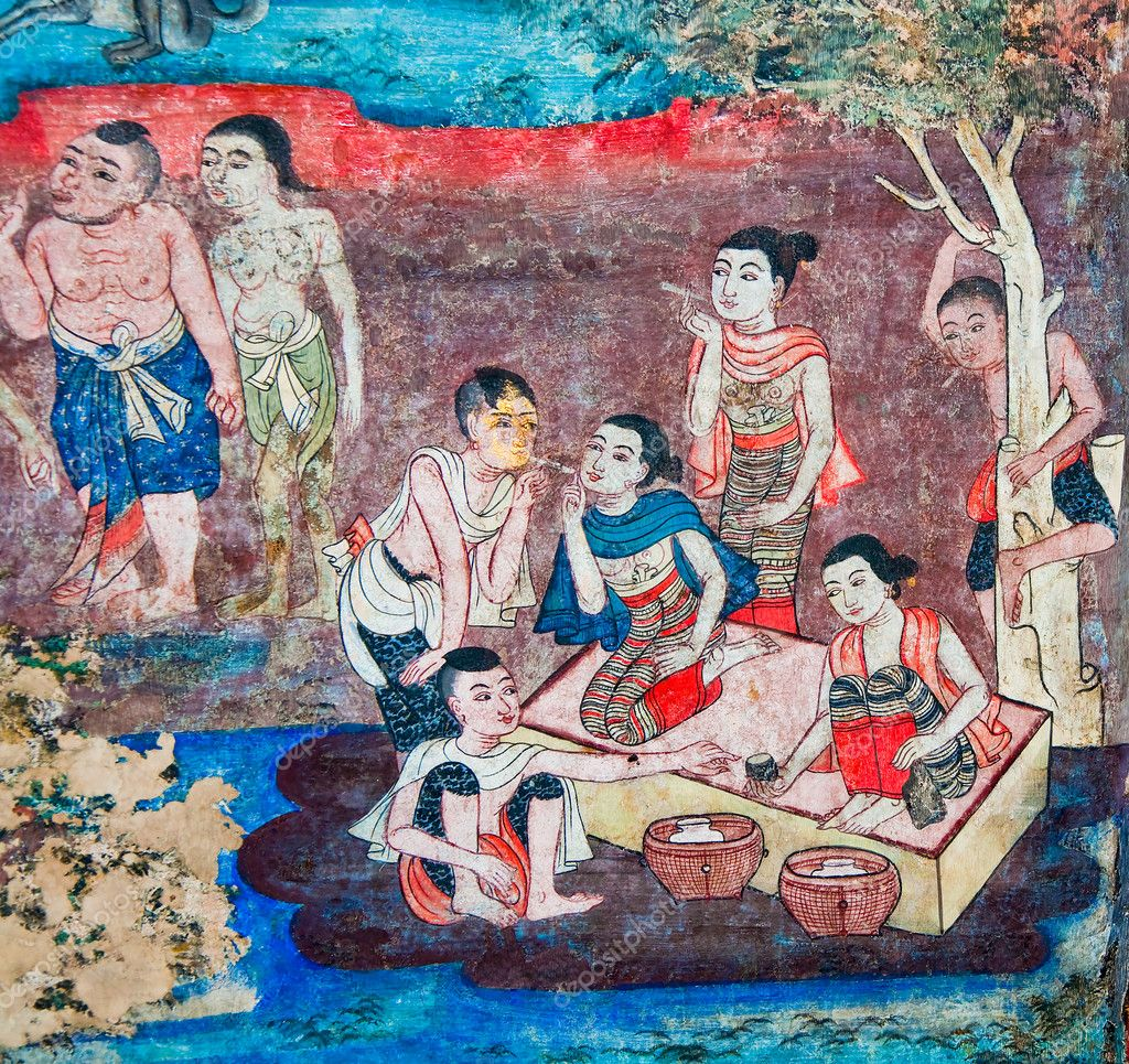 The ancient painting of buddhist temple mural at wat phra for Egyptian fresco mural painting
