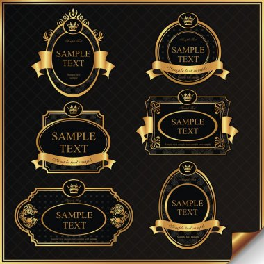 Black gold-framed labels