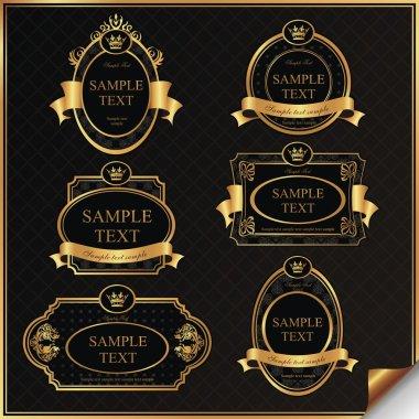 Set of black gold-framed labels in vector stock vector