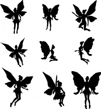 A set of Fairy silhouette illustrations stock vector