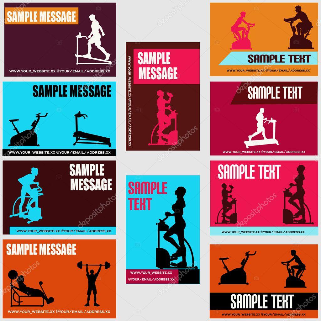Plantillas de tarjetas de salud y ejercicio — Vector de stock ...
