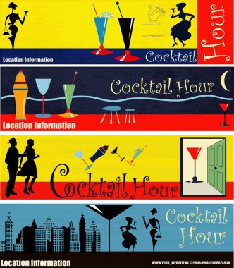 Retro Cocktail Hour Web Banners