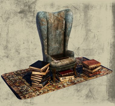 Books and Old Chair Illustration