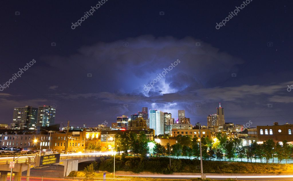 Lightening Strike Above the Denver Skyline
