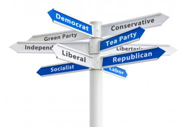 US Political Parties Sign: Democrat Vs Republican