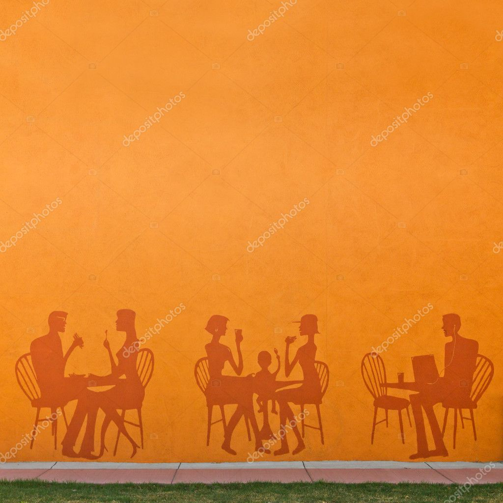 Restaurant Background Silhouettes Of Eating In A Restaurant Background  Stock Photo