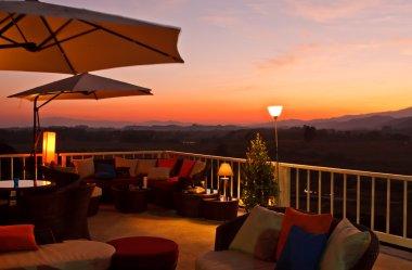 Restaurant terrace at sunset
