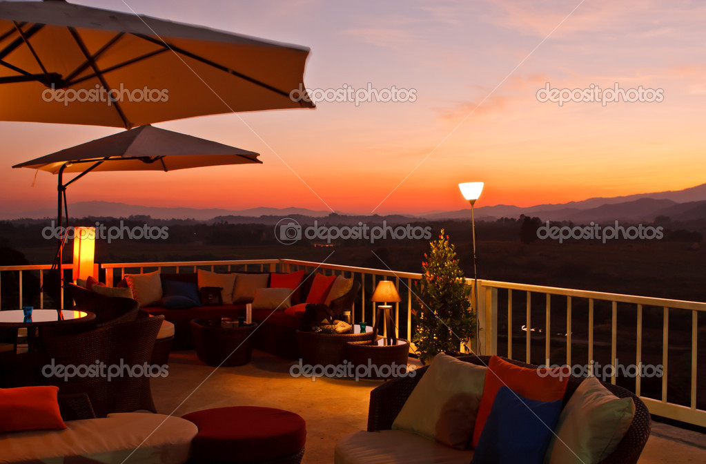 Restaurant terrace at sunset