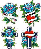 Fényképek Gótikus rose tattoo tervezés