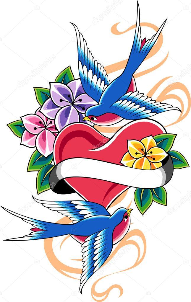 Swallow flower tattoo