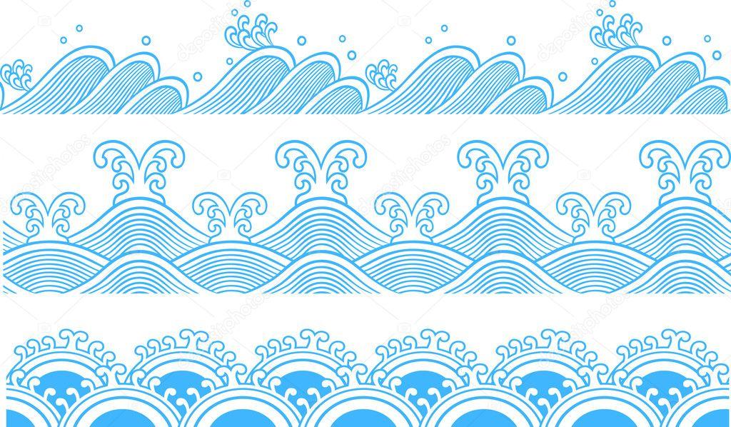 Seamless Ocean Wave Symbol Pattern Stock Vector