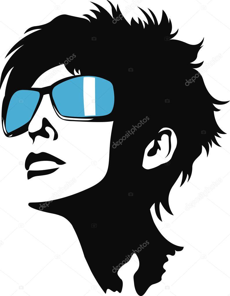 Modern woman face illustration stock vector