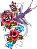Bird with rose flower