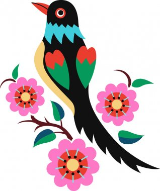 Flower branch and bird design