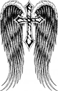 Cross and wing tattoo