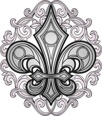 Shield symbol with swirl ornament clip art vector