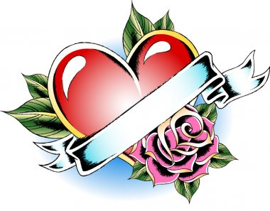 Heart with rose tattoo