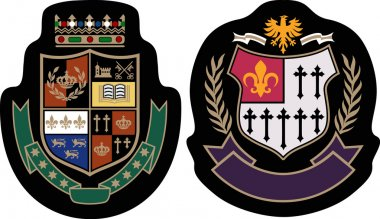 Fashion college emblem shield
