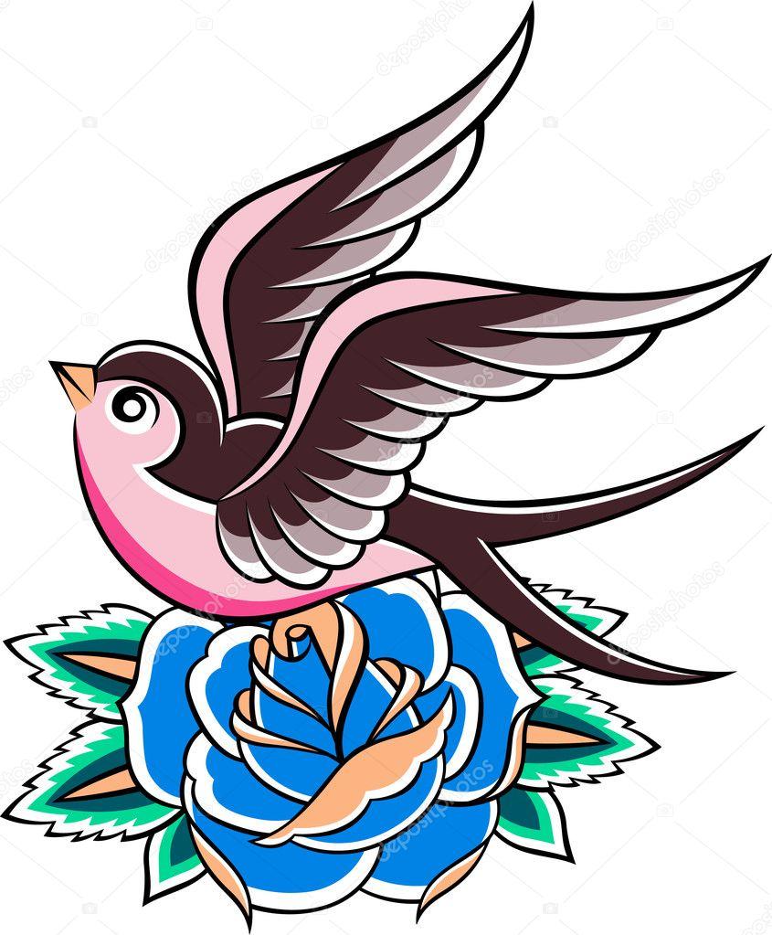 hirondelle tatouage vintage image vectorielle pauljune 10093558. Black Bedroom Furniture Sets. Home Design Ideas