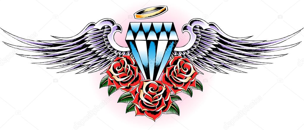 Asa E Tatuagem De Diamante Com Rosa Vetor De Stock