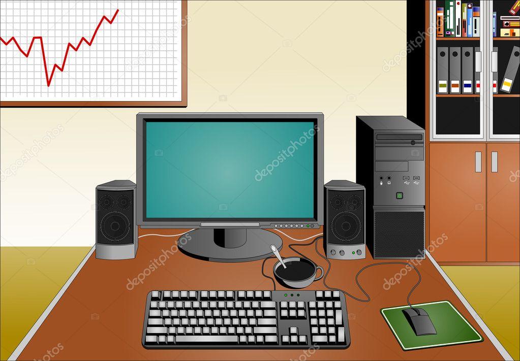 Bureau en matériel informatique u image vectorielle miloushek