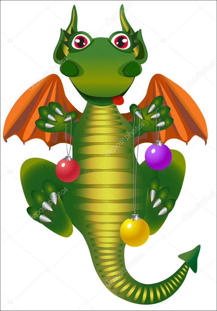 Dragon with Christmas ball