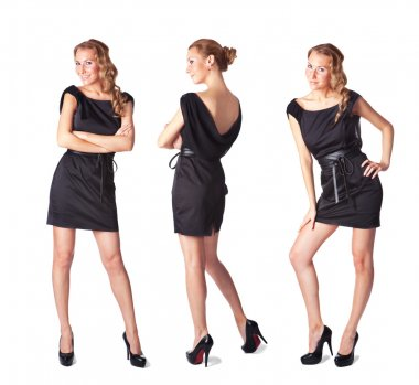 Portrait of three attractive young women in a black dress Full l