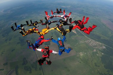Group of skydivers flying in formation