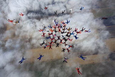 Group of skydivers in formation