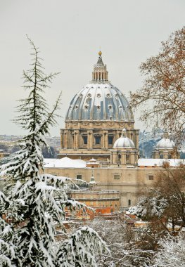 Saint peter basilica under snow