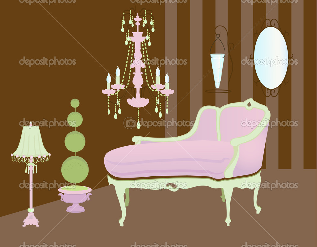 A Set Of Home Accessories And Decorative Objects In Soft Pink, Green And  Brown U2014 Vector By LanaN.