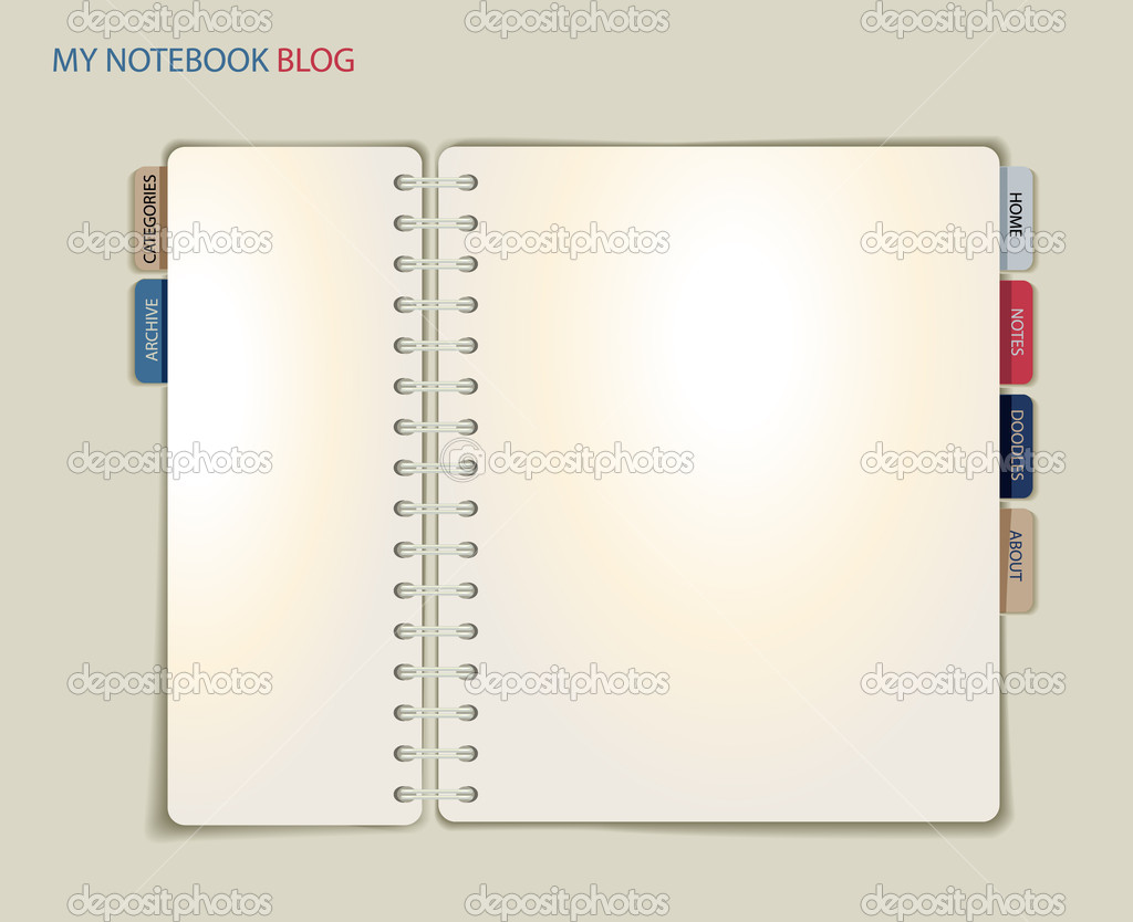 Spiral-Notizbuch Blog oder Website-Vorlage — Stockvektor © LanaN ...
