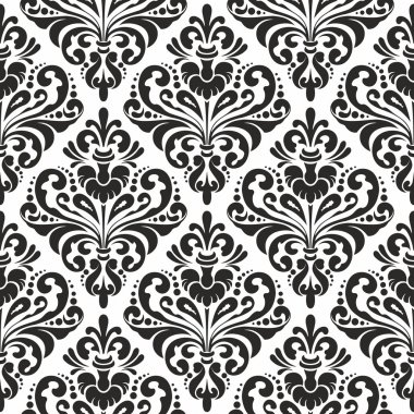 Black and white seamless damask wallpaper pattern stock vector