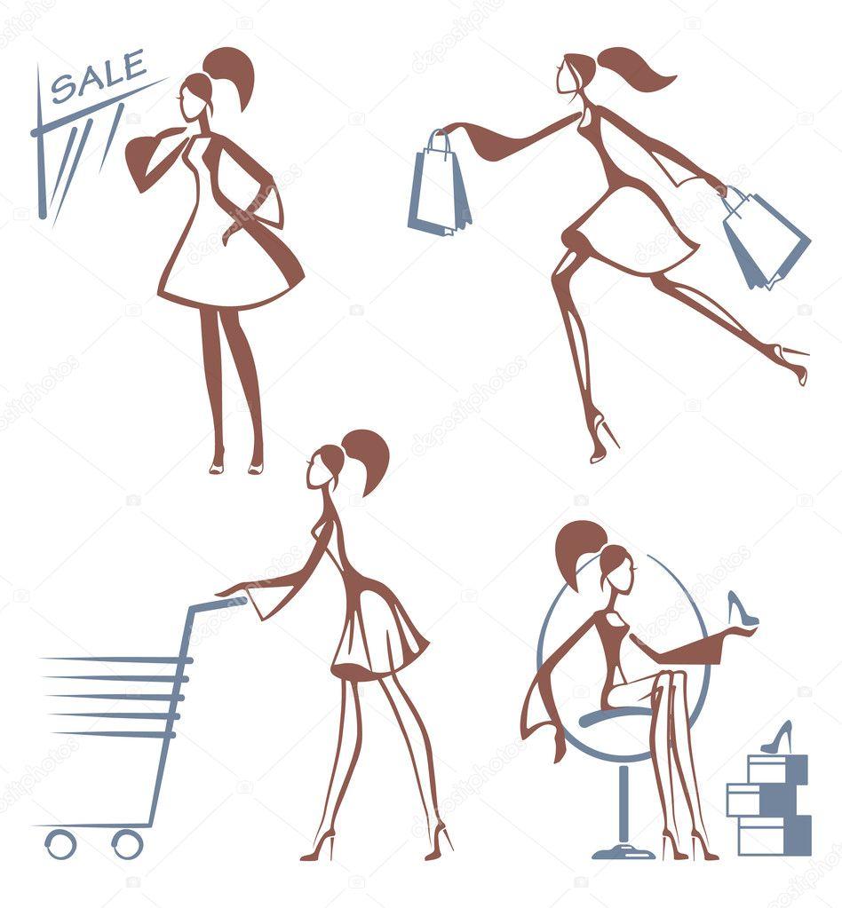 Alışveriş kız çizimleri stok illüstrasyon