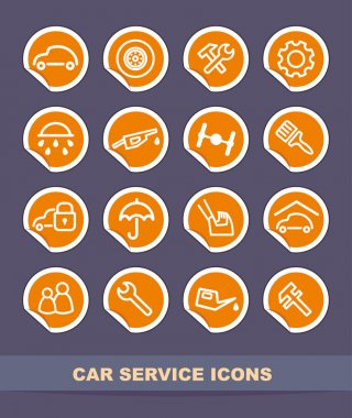 Car service icons on stickers