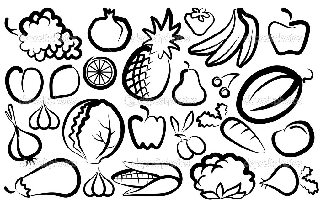Simple images of vegetables and fruit