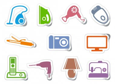 Set of stickers home appliances