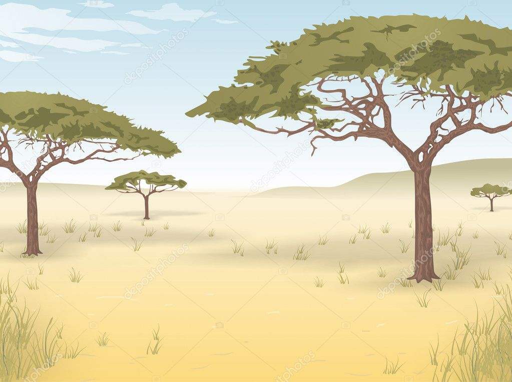 Vector background of the African savanna