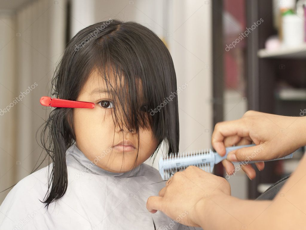 Young Girl Getting A Haircut Stock Photo Supakitmod 10395016