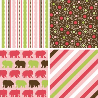 Seamless patterns with fabric texture, baby girl patterns