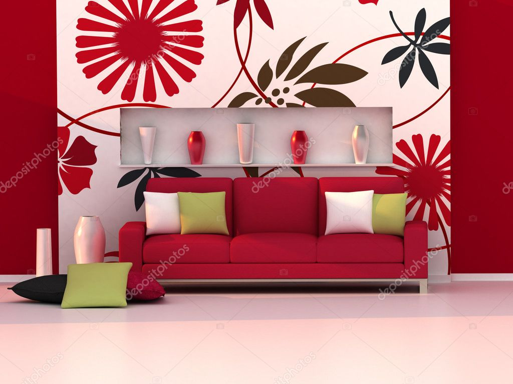 Interior Do Quarto Moderno Sof Vermelho E Parede Floral  -> Papel De Parede Para Sala Com Sofa Vermelho