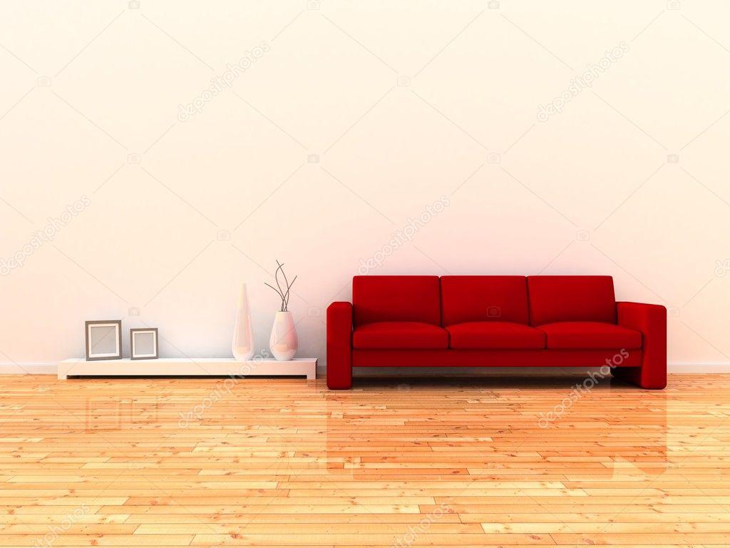 Intérieur du canapé rouge et mur chambre moderne, blanc ...