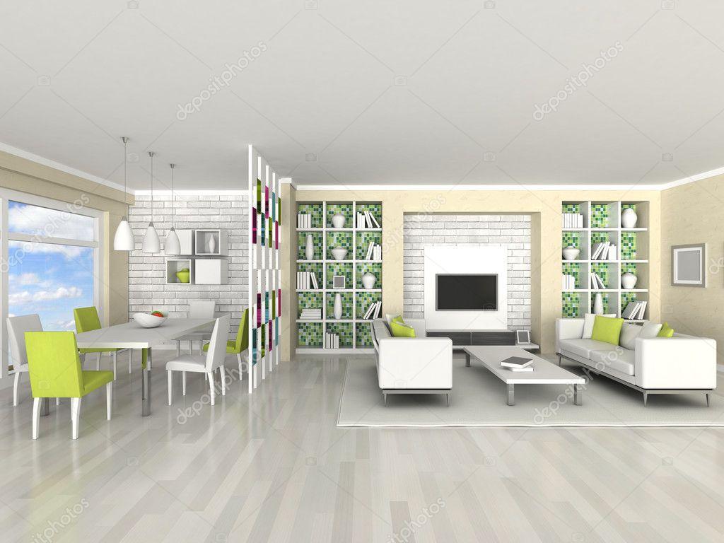 interno della moderna camera, salotto, sala da pranzo — Foto Stock ...