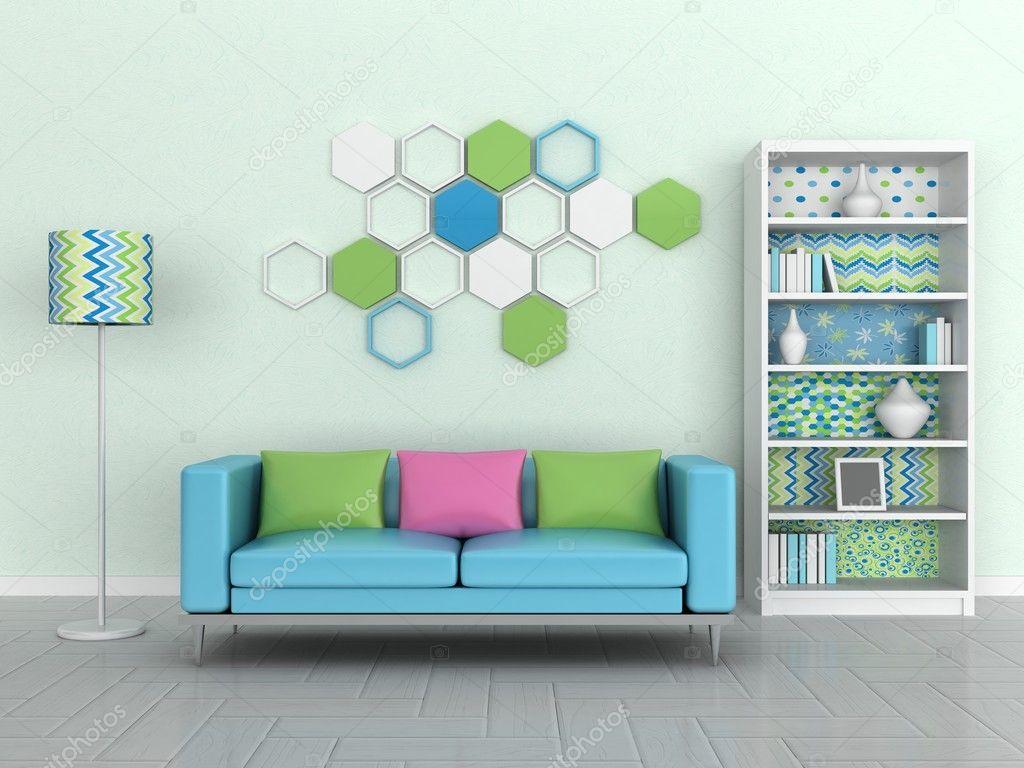 Interieur van de moderne kamer groene muur blauwe sofa stockfoto lemony 9932259 - Room muur van de baby ...