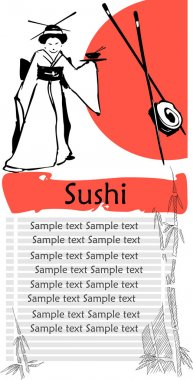 A vector illustration of a sushi menu template with space for text.