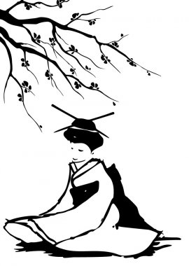 "Картина, постер, плакат, фотообои ""Гейши и Сакура."", артикул 9443097"