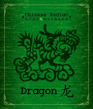Vector Chinese Zodiac - Dragon pattern