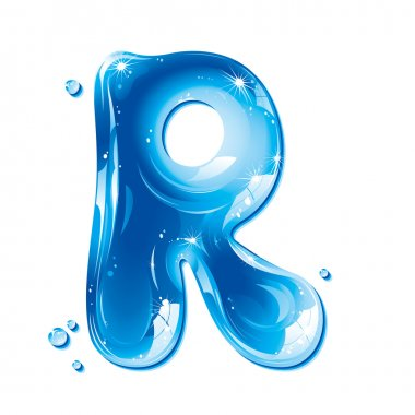 ABC series - Water Liquid Letter - Capital R